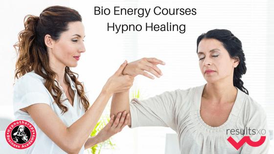 A Hypno Healer hypnotising a client with text Bio Energy Courses - Hypno Healing